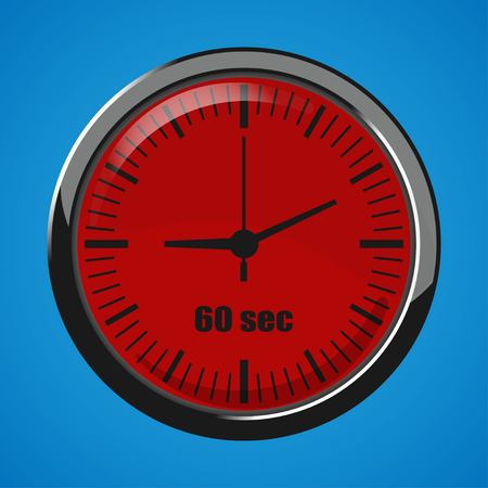 Sixty Seconds Clock on blue background. Clock 3d icon. Stopwatch icon.