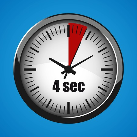 Four Seconds Clock on blue background. Clock 3d icon. Stopwatch icon. Stock Vector - 125047548