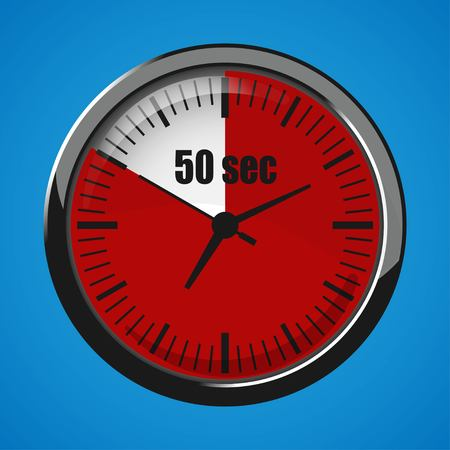 Fifty Seconds Clock on blue background. Clock 3d icon. Stopwatch icon.