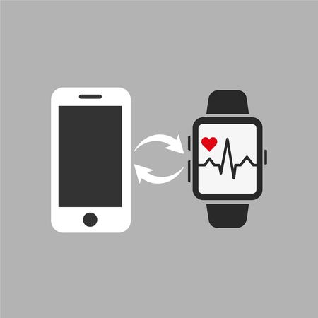 Data transfer from smart watches to phone. Vector illustration EPS 10.