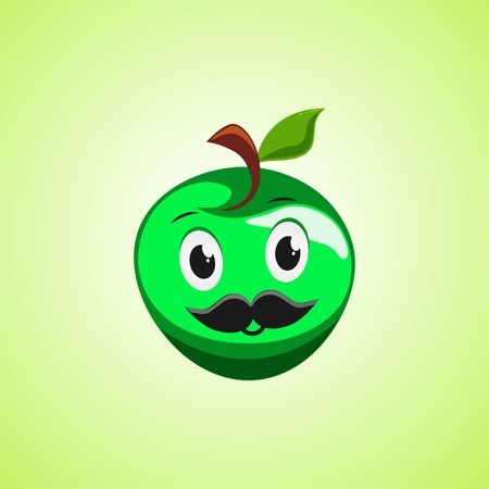 Green apple cartoon character with a mustache. Cute laughing apple icon isolated on green background. Vector illustration EPS 10. Illustration