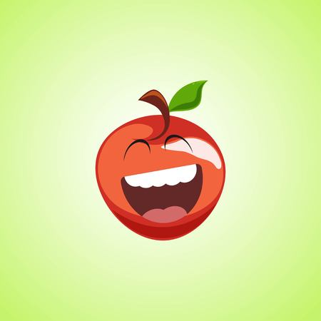 Giggling to tears red apple Cartoon Character. Cute laughing apple icon isolated on green background. Vector illustration EPS 10.