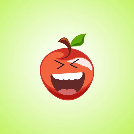 Roar with laughter symbol of the red apple. Cute icon of the apple isolated on green background. LOL symbol. Vector illustration EPS 10.