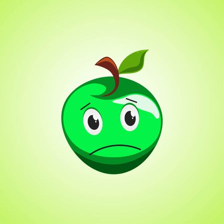 Sad cartoon green apple symbol. Cute icon of the apple isolated on green background. Vector illustration EPS 10.