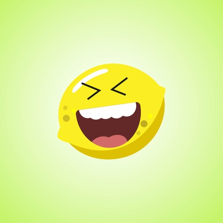 Roar with laughter symbol of the lemon. Cute icon of the lemon isolated on green background