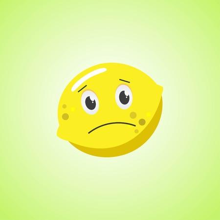 Sad cartoon lemon symbol. Cute icon of the lemon isolated on green background Stock Vector - 124820143