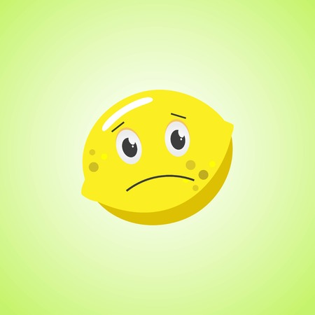 Sad cartoon lemon symbol. Cute icon of the lemon isolated on green background Illustration
