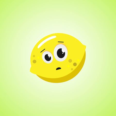 Frightened cartoon lemon symbol. Cute icon of the lemon isolated on green background Illustration