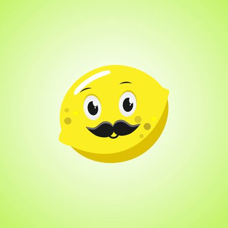 Lemon cartoon character with a mustache. Cute laughing lemon icon isolated on green background. Vector illustration EPS 10.