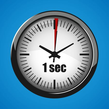 Seventeen Seconds Clock on blue background. Clock 3d icon. Stopwatch icon. Illustration