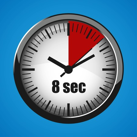 Seventeen Seconds Clock on blue background. Clock 3d icon.