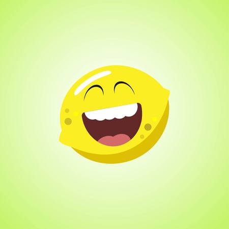 Giggling to tears lemon Cartoon Character. Cute laughing lemon icon isolated on green background Stock Vector - 124820146