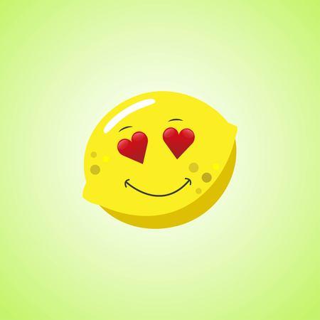 Amorous cartoon lemon symbol. Cute smiling lemon icon isolated on green background. Vector illustration EPS 10 Illustration