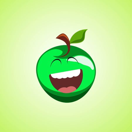 Giggling to tears green apple Cartoon Character. Cute laughing apple icon isolated on green background. Vector illustration EPS 10.