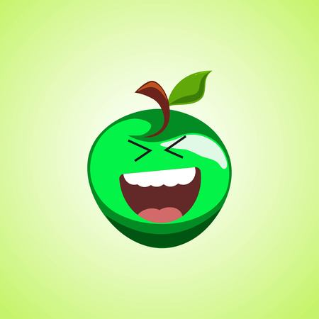 Roar with laughter symbol of the green apple. Cute icon of the apple isolated on green background. LOL symbol. Vector illustration EPS 10.