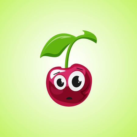 Frightened cartoon cherry symbol. Cute icon of the cherry isolated on green background. Vector illustration EPS 10. Illustration