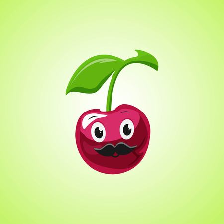 Cherry cartoon character with a mustache. Cute laughing cherry icon isolated on green background. Vector illustration EPS 10.