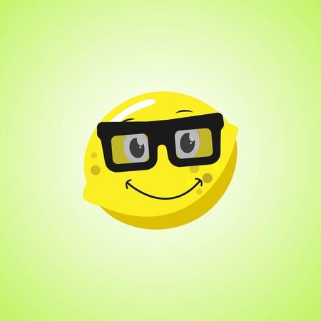 Yellow simple smile cartoon lemon symbol in glasses. Cute smiling lemon icon isolated on green background. Vector illustration EPS 10