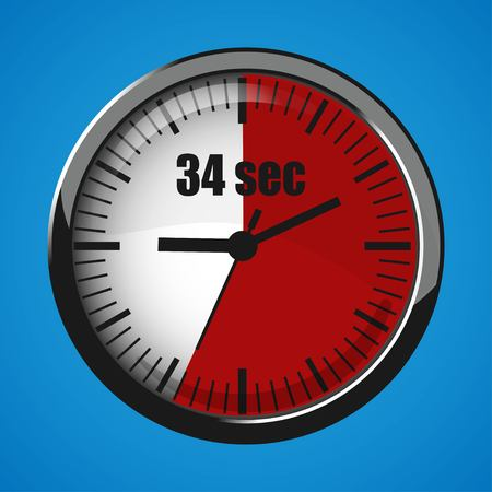Seventeen Seconds Clock on blue background. Clock 3d icon. Stopwatch icon. Stock Vector - 124782676