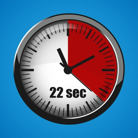 Seventeen Seconds Clock on blue background. Clock 3d icon. Stopwatch icon. Stock Vector - 124782677