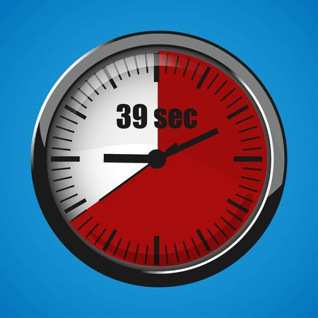 Seventeen Seconds Clock on blue background. Clock 3d icon. Stopwatch icon. Ilustração