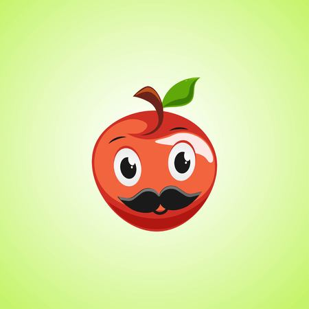 Red apple cartoon character with a mustache. Cute laughing apple icon isolated on green background
