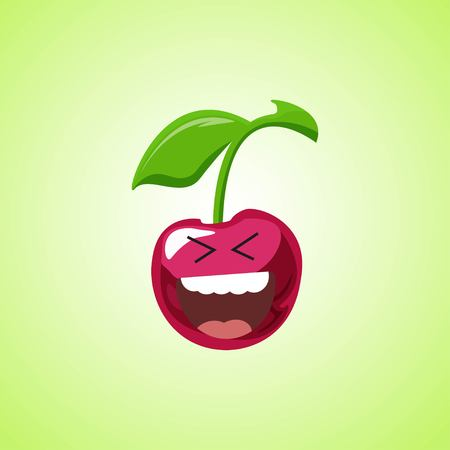 Roar with laughter symbol of the cherry. Cute icon of the cherry isolated on green background. LOL symbol. Vector illustration EPS 10.