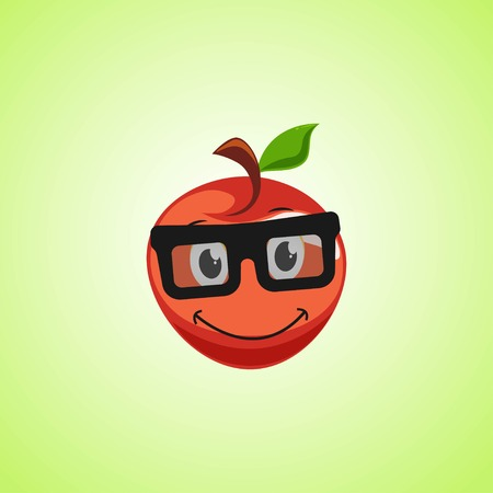 Red simple smile cartoon apple symbol in glasses. Cute smiling apple icon isolated on green background