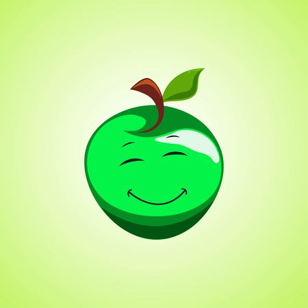 Green Simple Smiling apple with closed eyes Cartoon Character. Cute smiling moon icon isolated on green background. Vector illustration EPS 10.