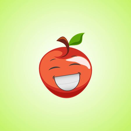 White laughing cartoon red apple symbol. Cute smiling apple icon isolated on green background. Vector illustration EPS 10