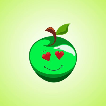 Amorous cartoon green apple symbol. Cute smiling apple icon isolated on green background. Vector illustration EPS 10