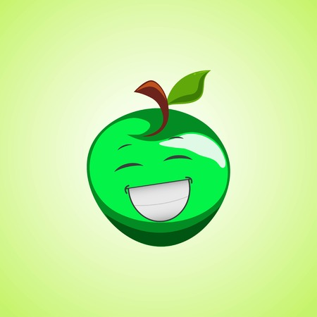 White laughing cartoon green apple symbol. Cute smiling apple icon isolated on green background. Vector illustration EPS 10 Stock Vector - 124782690