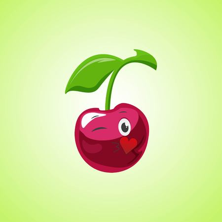 Cartoon Symbol cherry sending an air kiss. Cute smiling cherry icon isolated on green background. Vector illustration EPS 10.