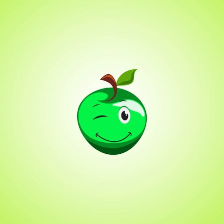 Green simple winking character cartoon apple. Cute smiling apple icon isolated on green background. Vector illustration EPS 10.