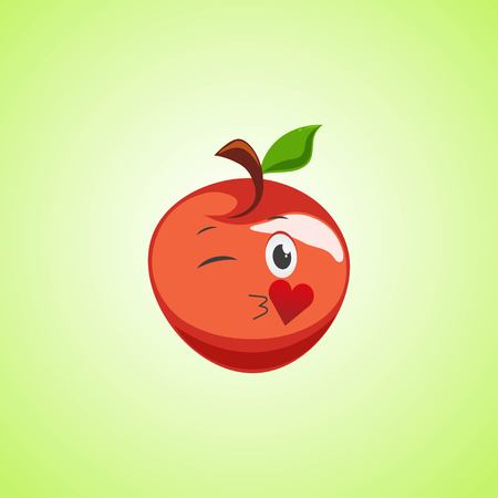 Red Cartoon Symbol apple sending an air kiss. Cute smiling apple icon isolated on green background. Vector illustration EPS 10. Illustration