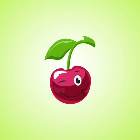 Simple winking character cartoon cherry. Cute smiling cherry icon isolated on green background. Vector illustration