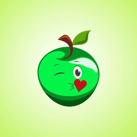 Green Cartoon Symbol apple sending an air kiss. Cute smiling apple icon isolated on green background. Vector illustration EPS 10.