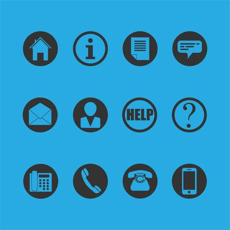 Telephone, home, information, chat, message, person, help, question symbols. Illustration
