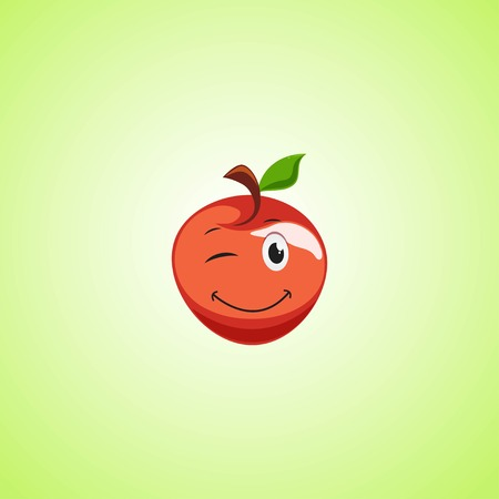 Red simple winking character cartoon apple. Cute smiling apple icon isolated on green background. Vector illustration EPS 10.