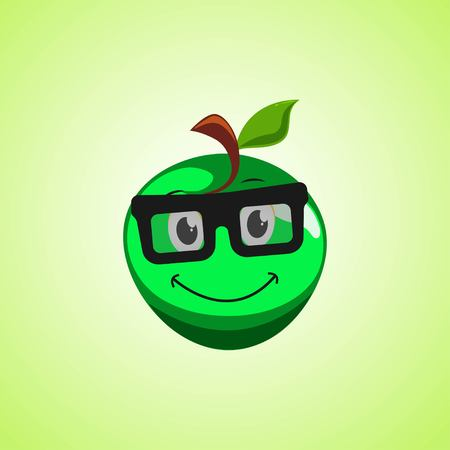 Green simple smile cartoon apple symbol in glasses. Cute smiling apple icon isolated on green background. Vector illustration EPS 10