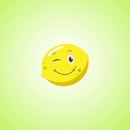 Yellow simple winking character cartoon lemon. Cute smiling lemon icon isolated on green background. Vector illustration Illustration