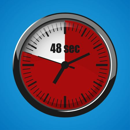 Seventeen Seconds Clock on blue background. Clock 3d icon. Stopwatch icon. Stock Vector - 124782700
