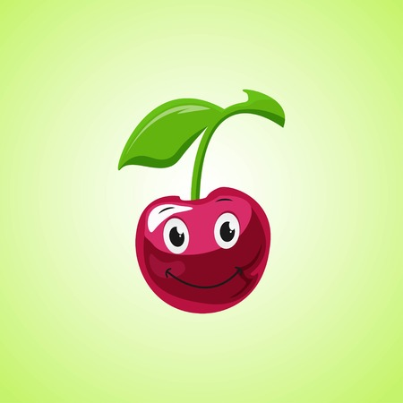 Simple Smiling Cherry Cartoon Character. Cute smiling cherry icon Isolated On Green Background. Vector illustration EPS 10. Stock Vector - 124782702
