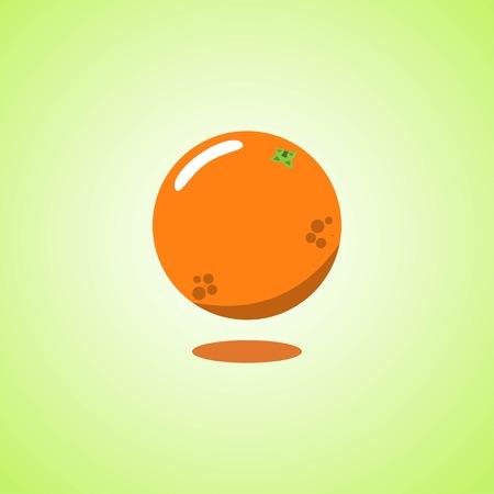 Orange icon isolated on green background. Colorful cartoon fruit icon. Vector illustration EPS 10.