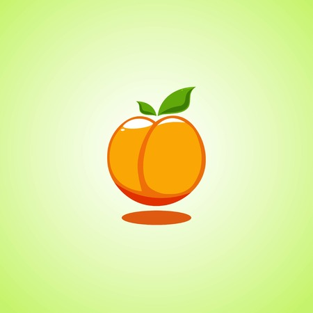 Orange peach icon isolated on green background. Colorful cartoon fruit icon.