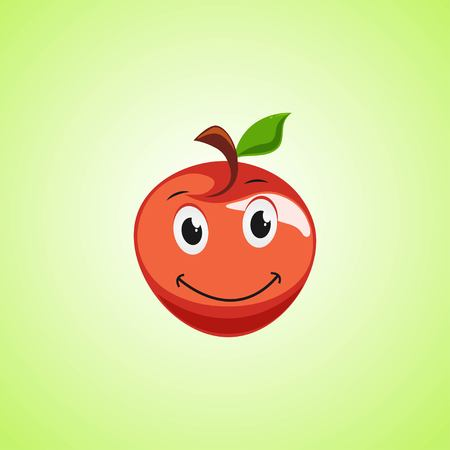Red Simple Smiling Apple Cartoon Character. Cute smiling apple icon Isolated On Green Background