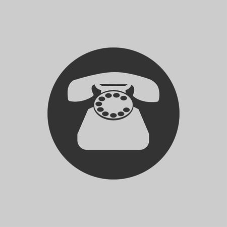 Phone icon in flat style isolated on gray background. Retro telephone symbol. Vector illustration EPS 10. Stock Vector - 124782705