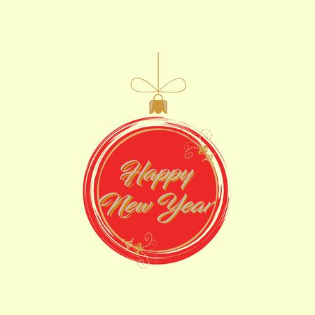 Red New Year and Christmas ball isolated on yellow background. Vector illustration EPS 10. Illustration
