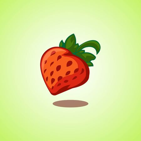 Red strawberry icon isolated on green background. Vector illustration