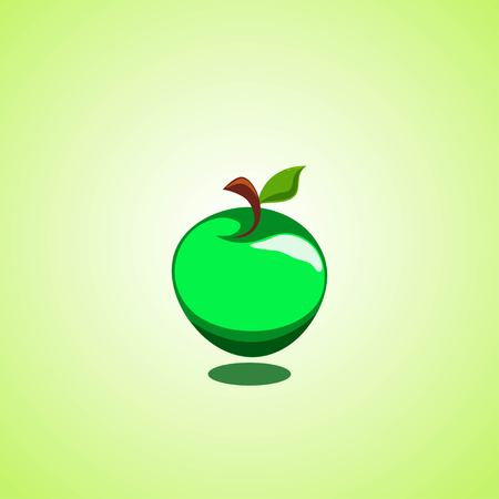 Green apple icon isolated on green background. Vector illustration